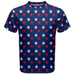 Patriotic Red White Blue Stars Blue Background Men s Cotton Tee
