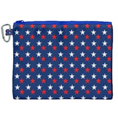 Patriotic Red White Blue Stars Blue Background Canvas Cosmetic Bag (xxl) by Celenk