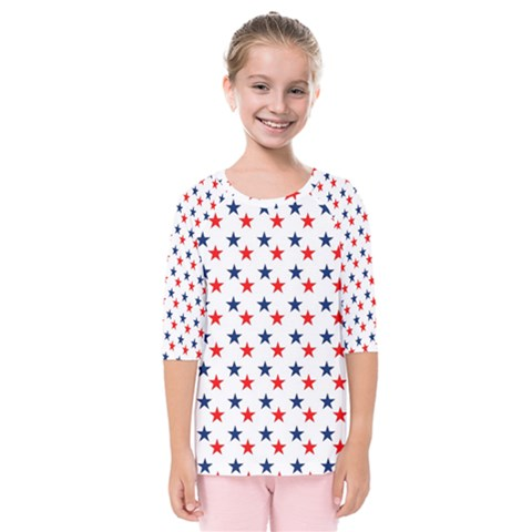 Patriotic Red White Blue Stars Usa Kids  Quarter Sleeve Raglan Tee by Celenk