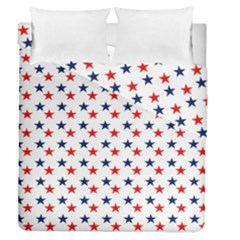 Patriotic Red White Blue Stars Usa Duvet Cover Double Side (queen Size) by Celenk