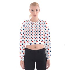 Patriotic Red White Blue Stars Usa Cropped Sweatshirt