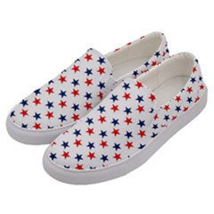 Patriotic Red White Blue Stars Usa Men s Canvas Slip Ons by Celenk