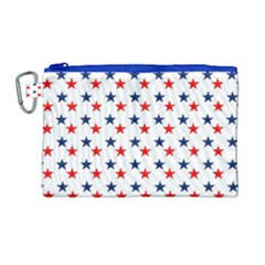 Patriotic Red White Blue Stars Usa Canvas Cosmetic Bag (large) by Celenk
