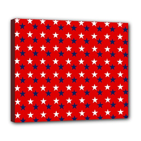 Patriotic Red White Blue Usa Deluxe Canvas 24  X 20   by Celenk