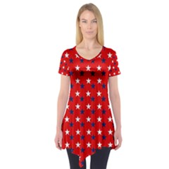 Patriotic Red White Blue Usa Short Sleeve Tunic