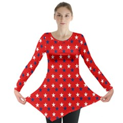 Patriotic Red White Blue Usa Long Sleeve Tunic