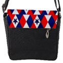 Patriotic Red White Blue 3d Stars Flap Messenger Bag (S) View1