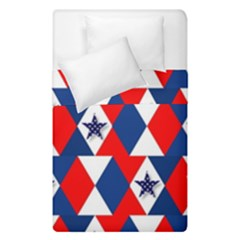 Patriotic Red White Blue 3d Stars Duvet Cover Double Side (single Size)