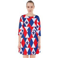 Patriotic Red White Blue 3d Stars Smock Dress