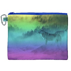 Yellowstone Wolfs Sunset Canvas Cosmetic Bag (xxl) by PodArtist
