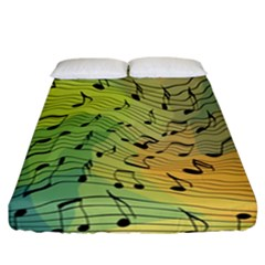 Music Notes Fitted Sheet (california King Size) by linceazul
