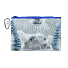 Cute Polar Bear Baby, Merry Christmas Canvas Cosmetic Bag (large) by FantasyWorld7