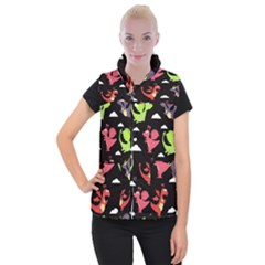 Cute Flying Dragons Women s Button Up Puffer Vest by allthingseveryday