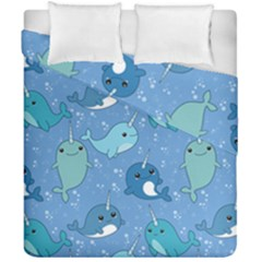 Cute Narwhal Pattern Duvet Cover Double Side (california King Size) by allthingseveryday
