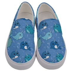 Cute Narwhal Pattern Men s Canvas Slip Ons
