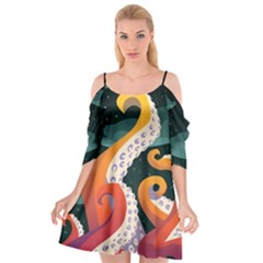 Tentacle Dress Illustrator File 4 Cutout Spaghetti Strap Chiffon Dress