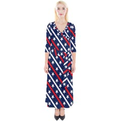 Patriotic Red White Blue Stars Quarter Sleeve Wrap Maxi Dress