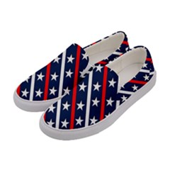Patriotic Red White Blue Stars Women s Canvas Slip Ons by Celenk