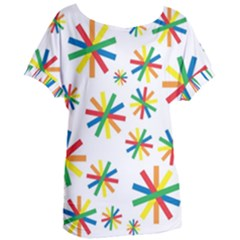 Celebrate Pattern Colorful Design Women s Oversized Tee by Celenk