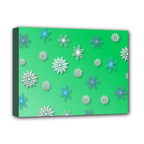 Snowflakes Winter Christmas Overlay Deluxe Canvas 16  X 12   by Celenk