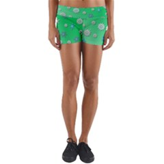 Snowflakes Winter Christmas Overlay Yoga Shorts