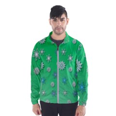 Snowflakes Winter Christmas Overlay Wind Breaker (men)