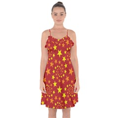 Star Stars Pattern Design Ruffle Detail Chiffon Dress