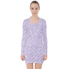 Halloween Lilac Paper Pattern V-neck Bodycon Long Sleeve Dress