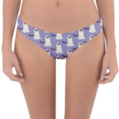Bat And Ghost Halloween Lilac Paper Pattern Reversible Hipster Bikini Bottoms