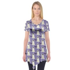Bat And Ghost Halloween Lilac Paper Pattern Short Sleeve Tunic