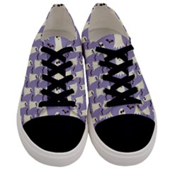 Bat And Ghost Halloween Lilac Paper Pattern Men s Low Top Canvas Sneakers