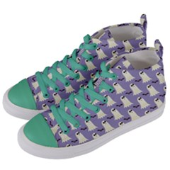 Bat And Ghost Halloween Lilac Paper Pattern Women s Mid-top Canvas Sneakers by Celenk