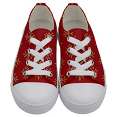 Pattern Background Holiday Kids  Low Top Canvas Sneakers