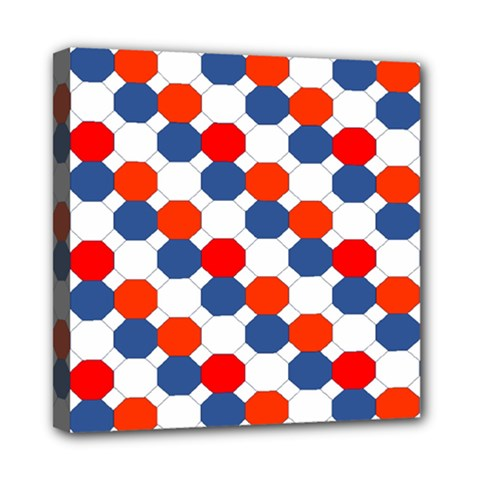 Geometric Design Red White Blue Mini Canvas 8  X 8  by Celenk