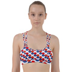 Geometric Design Red White Blue Line Them Up Sports Bra by Celenk