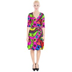 Seamless Tile Background Abstract Wrap Up Cocktail Dress