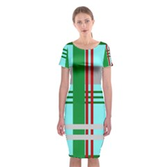Christmas Plaid Backgrounds Plaid Classic Short Sleeve Midi Dress by Celenk