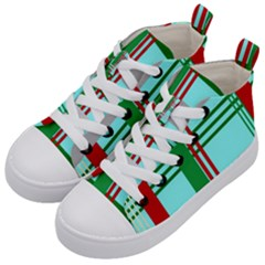 Christmas Plaid Backgrounds Plaid Kid s Mid Top Canvas Sneakers by Celenk