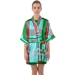 Christmas Plaid Backgrounds Plaid Quarter Sleeve Kimono Robe