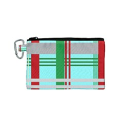 Christmas Plaid Backgrounds Plaid Canvas Cosmetic Bag (small) by Celenk
