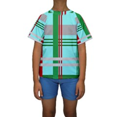 Christmas Plaid Backgrounds Plaid Kids  Short Sleeve Swimwear