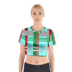 Christmas Plaid Backgrounds Plaid Cotton Crop Top