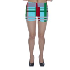Christmas Plaid Backgrounds Plaid Skinny Shorts by Celenk