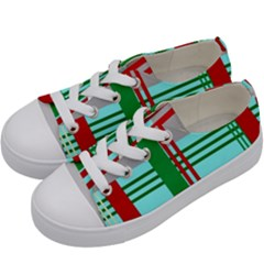 Christmas Plaid Backgrounds Plaid Kids  Low Top Canvas Sneakers by Celenk