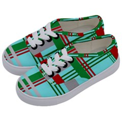 Christmas Plaid Backgrounds Plaid Kids  Classic Low Top Sneakers by Celenk