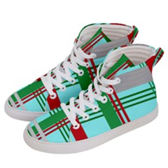 Christmas Plaid Backgrounds Plaid Men s Hi Top Skate Sneakers by Celenk