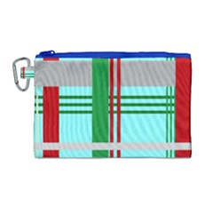 Christmas Plaid Backgrounds Plaid Canvas Cosmetic Bag (large) by Celenk