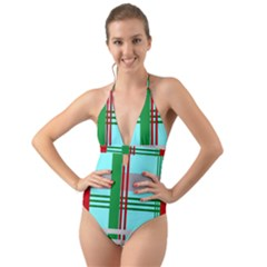 Christmas Plaid Backgrounds Plaid Halter Cut Out One Piece Swimsuit by Celenk
