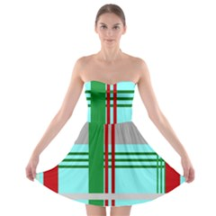 Christmas Plaid Backgrounds Plaid Strapless Bra Top Dress by Celenk