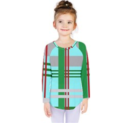 Christmas Plaid Backgrounds Plaid Kids  Long Sleeve Tee by Celenk